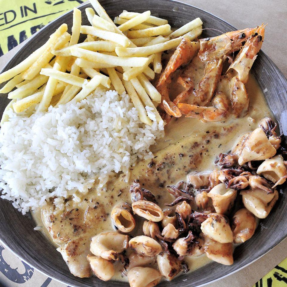 Mozambik calamari prawn rice and chips at Sunninghill Square