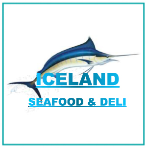 Sunninghill square | Johannesburg, Sandton, Mall, Shopping Centre, Convenient, Near Me, South African, Local, Affordable, Quality Iceland Seafood and deli Logo , blue text swordfish